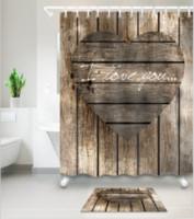 tapete do banheiro do coração venda por atacado-Padrão de coração 3D Impressão Personalizado À Prova D 'Água Do Banheiro Moderno Girassol Cortina de Chuveiro Tecido de Poliéster Cortina Do Banheiro Porta tapete conjuntos