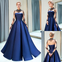 Wholesale crystal illusion sleeves quinceanera for sale - Group buy Navy Blue Satin Prom Dresses Luxury Beaded High Sheer Neck A Line Designer Evening Dress Long Illusion Sleeves Graduation Party Gown CPS1160