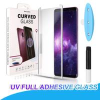 uv sıvı tutkalı toptan satış-Samsung Not 9 Için UV Temperli Cam 8 S8 S9 Artı S7 Kenar 5D Tam Sıvı Tutkal Ekran Koruyucu Samsung Galaxy S10 Artı Not 10 Artı