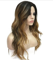 Wholesale beautiful sexy wig resale online - charming beautiful new Hot sell Sexy Women Long Wave Black Root Brown Mix Blonde Synthetic Hair Full Wigs