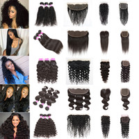 Wholesale Weave Front Closure - Peruvian Hair Bundles with Closure Straight Body Wave Hair Weave U Deserve Lace Front Deep Water Human Hair Kinky Curly Bundles with Frontal