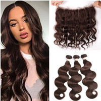 Wholesale human hair chocolate color for sale - Group buy Medium Brown Indian Virgin Human Hair Bundles with Frontal Body Wave Chocolate Brown Weave Bundles with x4 Lace Frontal Closure
