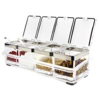 Wholesale spice box set - Fashion design acrylic seasoning box spice jar set creative cruet sauce pot kitchenware supplies