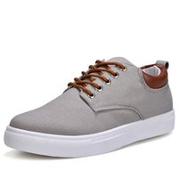 marka tuval dantel ayakkabıları toptan satış-Yeni Varış Bahar Yaz Rahat Rahat Ayakkabılar Erkek Kanvas Ayakkabılar Erkekler Için Dantel Up Marka Moda Düz Loafer'lar Ayakkabı