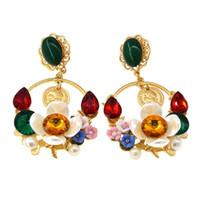 avizeler için kristal damla toptan satış-Barok Renkli Kristal Bırak Küpe Kadınlar Için Yüksek Kalite Brezilyalı Stil Moda Çiçek Avize Earriing Freeshipping