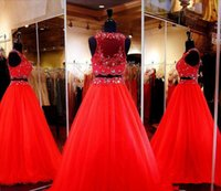 Wholesale dark green crop top - 2018 Gorgeous Two-Pieces Prom Dresses Red Beaded Crop Top Jewel Ball Gown Formal Party Gowns Floor Length Cheap Evening Pageant Dress A Line