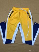Wholesale colour jeans - 2018 New Green Colour baggy boys jogger Men's Skinny Casual pants mens jeans designer leather jogging sweatpants