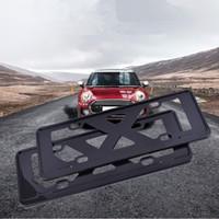 ingrosso telaio in acciaio inox-Supporto per porta targa auto auto in fibra di carbonio 2pcs reale per BMW Mini Cooper Hatchback F56 2014 2015 2016 2017 3 porte