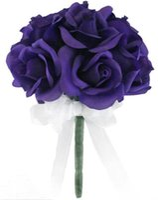 rosas de seda flores púrpura al por mayor-12 Rosas púrpuras - Ramo de novia de flores de seda Ramo de dama de honor Flor de boda De Mariage Rose