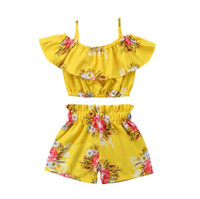 Wholesale babys girls clothes for sale - Group buy 2018 New Baby Girls Outfits Flower Shorts kids babys girls clothes Sets Fashion Summer Kids Clothes Printed Ruffle Tops Shorts Suits