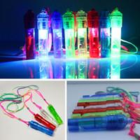 fabricantes de ruido partido led al por mayor-LED Light Up Whistle Colorful Luminous Noise Maker Niños Juguetes para niños Fiesta de cumpleaños Novedad Props Fiesta de Navidad Suministros HH7-1358