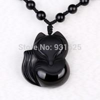 encantos chineses esculpidos venda por atacado-Encantador 43x38mm 36x32mm Handwork Chinês Preto Obsidian Mão-Esculpida Sorte Fox Amuleto pingente de colar de jóias do homem da mulher