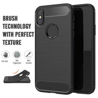 Wholesale fit slip - Carbon Fiber brushed Silicone Case Slim Soft Anti-slip for iPhone X 8 7 6S Samsung Note8 S9 plus Sony Moto LG Huawei Google OppBag Aicoo