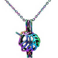 stainless steel horn 2018 - C453 Rainbow Color 26mm Horn Unicorn Beads Cage Pendant Essential Oil Diffuser Aromatherapy Pearl Cage Locket Pendant Necklace