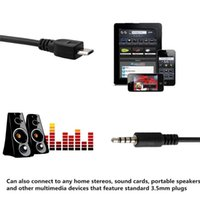 yardımcı kablo mikro usb toptan satış-Mikro USB Erkek Stereo 3.5mm Erkek Araba AUX Out Kablo Samsung Galaxy S4 HTC için