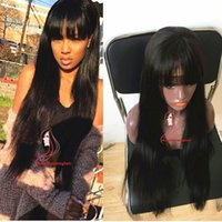 Wholesale full fringe hair - 12 inch Hot selling long Straight Virgin Hair Full Fringe Wig Human Hair Glueless Full Lace Wig With Bangs Bleached Knots Wig For Blac