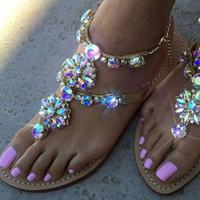 kristal taşlar toptan satış-Kadınlar Rahat Rhinestones Zincirleri Tanga Gladyatör Düz Sandalet Kristal Shoes Artı Boyutu Düz Platformu Gladyatör Feminino