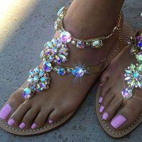 Wholesale crystal button buckles resale online - Women Casual Rhinestones Chains Thong Gladiator Flat Sandals Crystal Chaussure Plus Size Flat Platform Gladiator Feminino