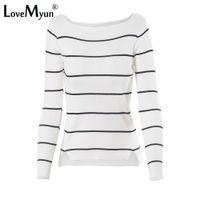ingrosso maglione a maglia nera-2018 Autunno Inverno casual nero bianco a righe manica lunga maglia maglione sottile pullover pullover donna