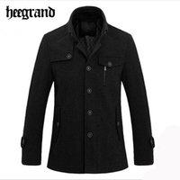 ingrosso lana a maglia britannica-Wholesale- HEE GRAND Men Business Velluto spesso caldo misto lana Stile britannico maschile Knitting Stand Collar Jacket Solid Coat uomo MWN2