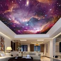 hintergrund wand wandmalereien großhandel-ktv Bar 3D Tapete Vliesstoff Universum Sternenhimmel Thema Hintergrund Wandaufkleber Decke Galaxy Murals 22jy Ww