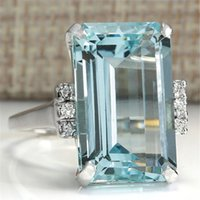 0a3308f396 Big Blue CZ Zircon Stone Silver Color Rings for Women Fashion Jewelry  Valentines Day Gift Wedding Crystal Ring Anel