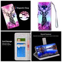 kreditkarten-turm brieftasche großhandel-Giraffe Blu-ray Leder Brieftasche für Galaxy Note 9 8 (A8 A6 J3 J7 J8 J4 J6) 2018 Blume Eiffelturm Eule ID Kreditkarte Luxus Flip Cover