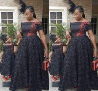 Wholesale girls dress size 14 short - 2018 Sexy Black Evening Dresses Off-Shoulder Short Sleeve A-Line Black Girl African Appliques Floor Length Evening Gowns Prom Dresses
