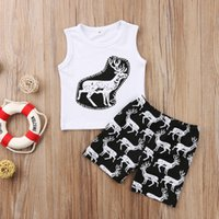 ingrosso maglia bambino bianco-Baby Boys Animal Clothes Vest + Shorts 2pcs Set Renna Nero Bianco Abiti Tuta Estate Natale XMAS Kid Abbigliamento Toddler