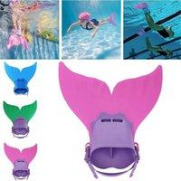 aletas de sereia venda por atacado-ISHOWTIENDA Crianças Fin Mermaid Monofin Cauda Flipper Swimwear Float para natação ao ar livre # 3