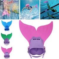 aletas para nadar al por mayor-ISHOWTIENDA Kids Fin Mermaid Monofin Tail Flipper Swimwear Flotador para nadar al aire libre # 3