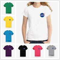 ingrosso terra americana-Creative Fashion Simple Tops Manica corta American Astronaut NASA Galaxy Earth Stampa T-Shirt Girocollo in cotone mezza manica Camicia Coppia Spor