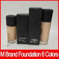 marca de maquillaje de base liquida al por mayor-Más reciente marca M Matchmaster Foundation Liquid Foundation trucco marca 35ML 30ML base 6 colores maquillaje cubierta DHL