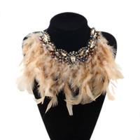 ingrosso cristalli della boemia-ZMZY Fashion New Bohemia Jewelry Esagera Piuma Dichiarazione Collare di cristallo Collane Pendenti Girocolli Collane per le donne