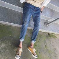 jeans de moda urbana venda por atacado-Outono Inverno Novos Pés Cônicos Franja Fino Jeans Masculinos Calças Casuais Personalidade Simples Moda Clássico Joker Juventude Urbana