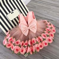 schöne mädchen kostüme großhandel-Rosa Farbe Mädchen Kleid Schöne Prinzessin Rose Blume Ärmelloses Kleid für Baby Kinder Geburtstagsparty Kostüm C05