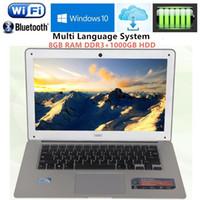 Wholesale 8gb Ddr3 Ram Laptop - 14.1inch 1920X1080P FHD 8GB RAM DDR3+1000GB HDD Windows7 8 Ultrathin Intel J1900 Quad Core Fast Running Laptops Netbook Computer