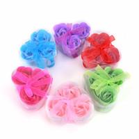 ingrosso profumi da bagno-3 pezzi profumati rosa fiore petalo bagno corpo sapone regalo della festa nuziale per il vostro buon amico