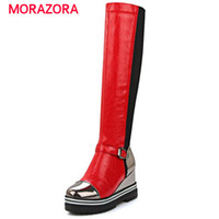 Wholesale Shoes Platform Long - Round toe knee high boots platform height increasing long boots autumn fashion high heels boots buckle women shoes