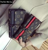 3690df531 Venta directa de la fábrica bolsa de las mujeres bolsa de impresión clásica  de la billetera larga elegante color de impacto bolso de cuero del monedero  de ...