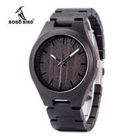 Wholesale custom logo watches for sale - Men Fashion BOBO BIRD Handmade Ebony Wooden Watches Custom Logo Design Your Own Brand erkek kol saati