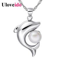 ювелирные изделия с дельфинами оптовых-5%Off Sweet Dolphin Shaped Pendant Choker Silver Chain Simulated Pearl Choker Necklace Jewelry Collane e Ciondoli Uloveido N1076