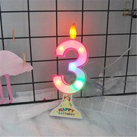 Wholesale happy birthday candles wholesale - Candle Light Digital Number Design 0-9 Party Happy Birthday Cake Valentine's Day Home Decor Dining Table Wax Led Candle light Q0641