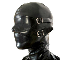 Wholesale lingerie accessories resale online - sexy lingerie design sexy products handmade customize size female women Latex Mask Hoods back zipper Fetish plus size