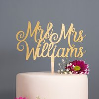 Wholesale purple rose cake resale online - Personalised Calligraphy Mr Mrs Wedding Cake Topper Wooden Rose Gold