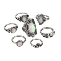 Wholesale tibet silver natural stone rings - Bohemia Retro Round Opal Carved Heart Love Elephant 7pcs Sets Natural Stone Rings Joint Tail Ring Female For Women Jewelry Free DHL H409R