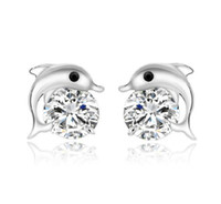 Wholesale Girl Dolphins - Natural Austrian Rhinestone Crystal Dolphin s925 Sterling silver Stud Earrings Classic Swarovski Elements Fashion Class Women Girls Gift