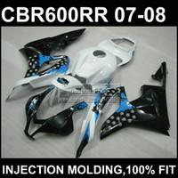 vücut özel cbr toptan satış-Beyaz siyah ABS Enjeksiyon kalıp özel fafor CBR 600 RR kaplamalar 07 08 CBR600RR 2007 2008 gövde kiti