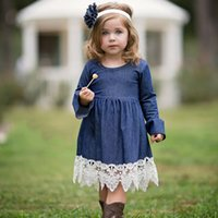 Wholesale baby clothes military - Spring Girls Princess Dress Children's Clothing Denim Lace Evening Dress Kids Long Sleeve Party Dresses Baby Girl Costume Kid Clothing