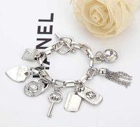 bracelets en or 24k achat en gros de-Amour Coeur Alliage Clé Bracelets Gem 925 Sterling Argent Plaqué Or Pendentifs Charme Bracelets Bracelet Bijoux Pour Hommes Femmes B029